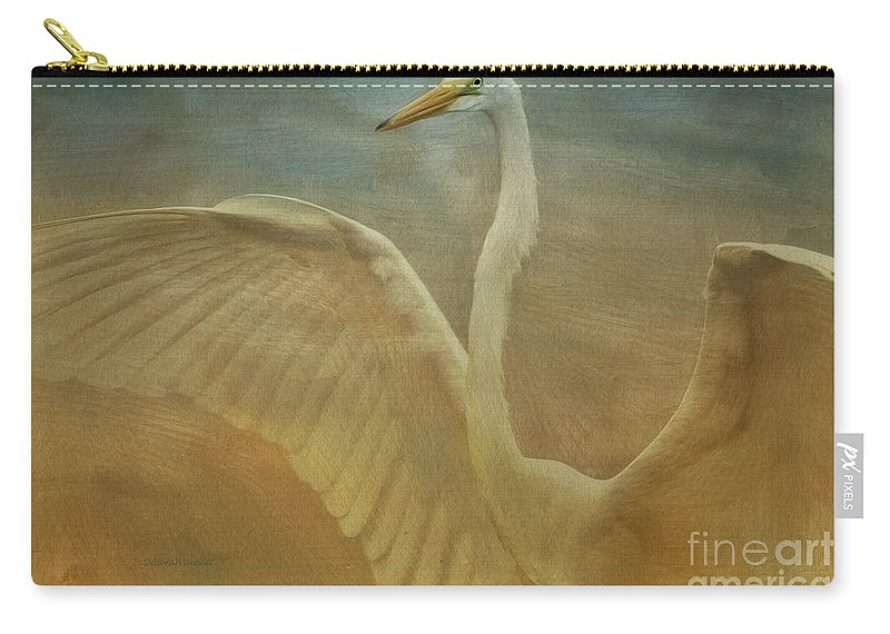 Egret Carry-all Pouch featuring the photograph The Giant E by Deborah Benoit