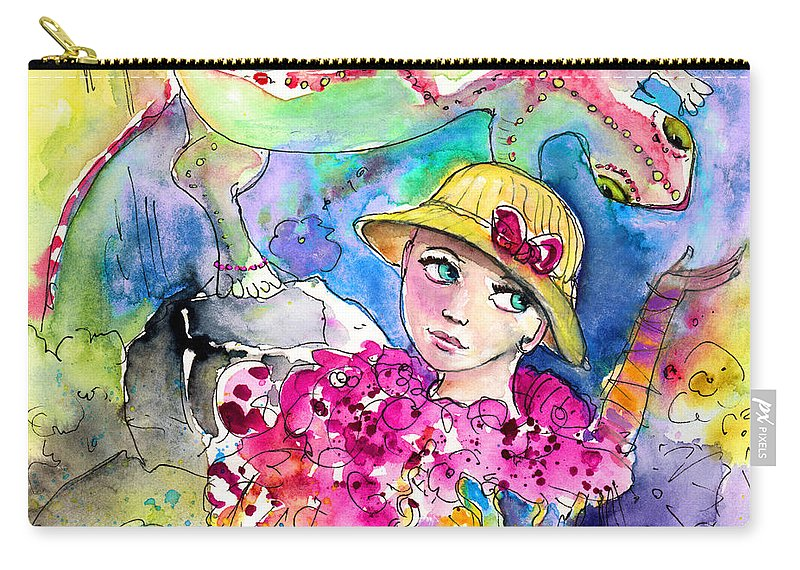 Travel Carry-all Pouch featuring the painting The Girl And The Lizard by Miki De Goodaboom