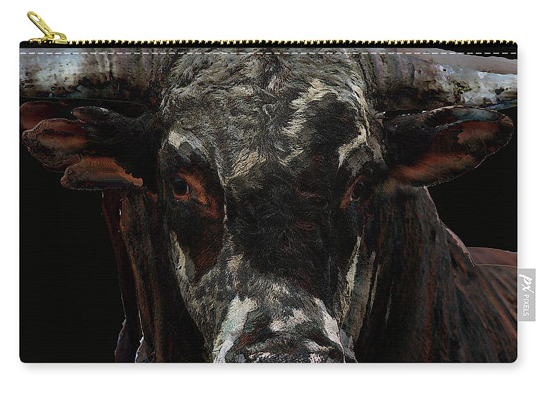 Rodeo Bucking Bull Cattle Horns Eyes Abstract Cow Carry-all Pouch featuring the photograph The Glare by Andrea Lawrence