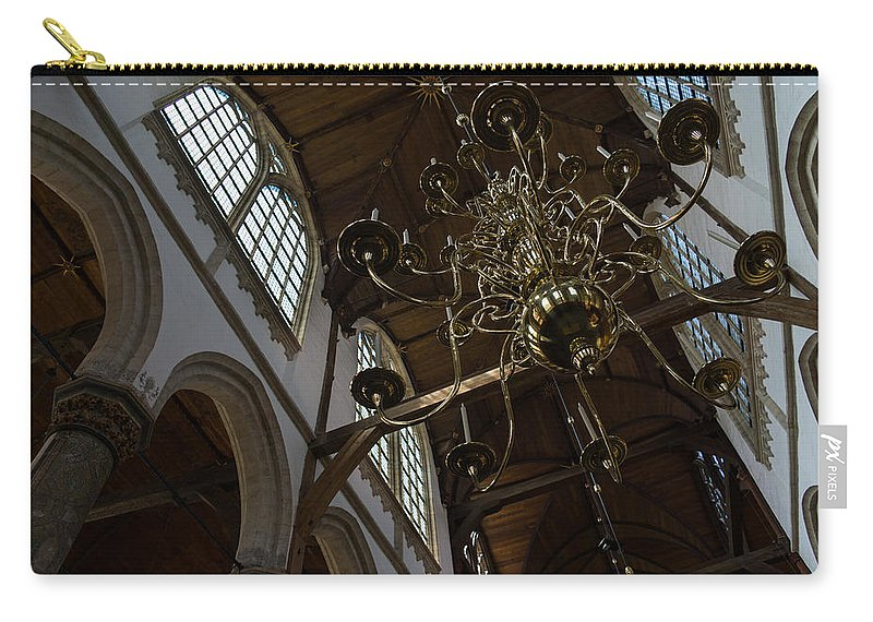 Golden Carry-all Pouch featuring the photograph The Golden Chandelier by Georgia Mizuleva