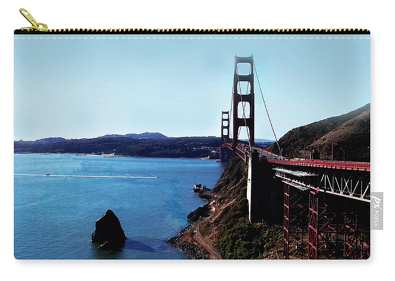Architecture Carry-all Pouch featuring the photograph The Golden Gate Bridge by Glenn Aker