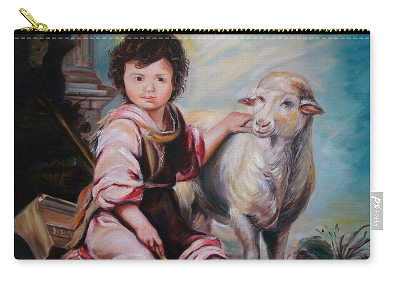 Classic Art Carry-all Pouch featuring the painting The Good Shepherd by Silvana Abel