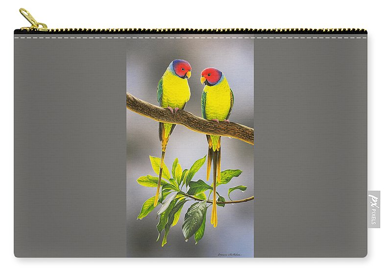 Bird Paintings Carry-all Pouch featuring the painting The Gorgeous Guys - Plum-Headed Parakeets by Frances McMahon