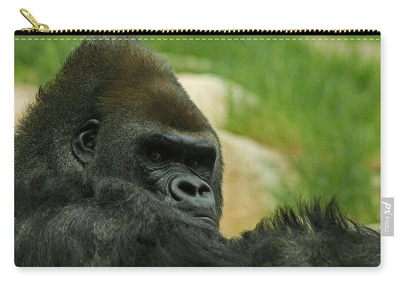Animals Carry-all Pouch featuring the digital art The Gorilla 2 by Ernie Echols
