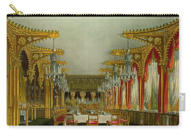 Ornate Carry-all Pouch featuring the drawing The Gothic Dining Room At Carlton House by Charles Wild