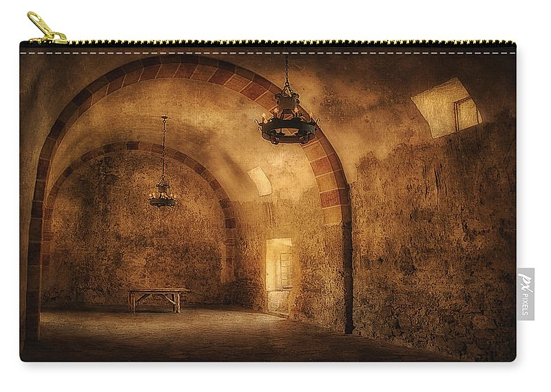 San Jose Mission Granary Carry-all Pouch featuring the photograph San Jose Mission Granary by Priscilla Burgers