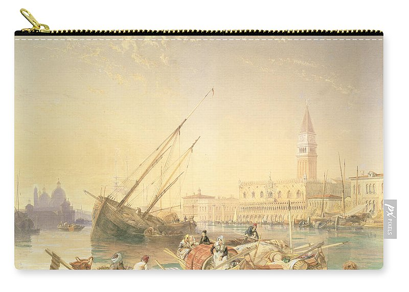 Boats Carry-all Pouch featuring the drawing The Grand Canal, Venice by James Duffield Harding