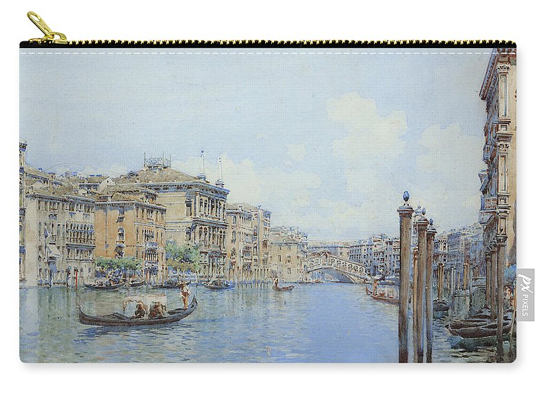 Venice Carry-all Pouch featuring the drawing The Grand Canal With A View Of Palace by Gino de Colle