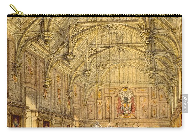 Domestic Interior Carry-all Pouch featuring the drawing The Grand Hall, Biddington, Surrey by Joseph Nash