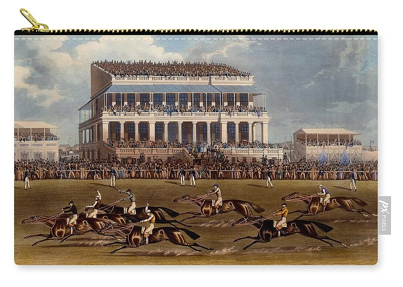 Grand Stand Carry-all Pouch featuring the painting The Grand Stand At Epsom Races, Print by James Pollard