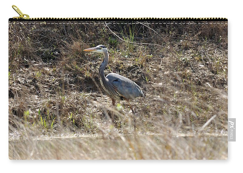 Digital Photography Carry-all Pouch featuring the photograph The Great Blue Heron by Kim Pate