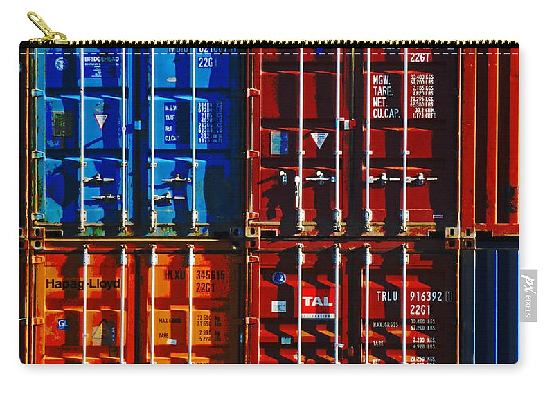 Container Carry-all Pouch featuring the photograph The Great Wall Of Christchurch by Steve Taylor