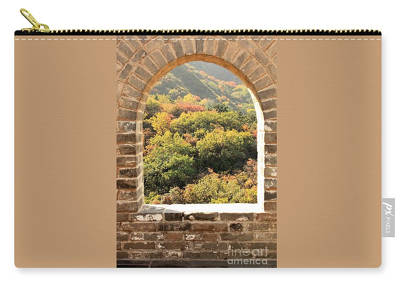 The Great Wall Of China Carry-all Pouch featuring the photograph The Great Wall Window by Carol Groenen