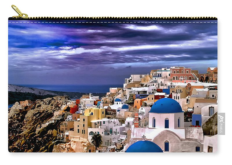 Travel Photo Carry-all Pouch featuring the photograph The Greek Isles Santorini by Tom Prendergast