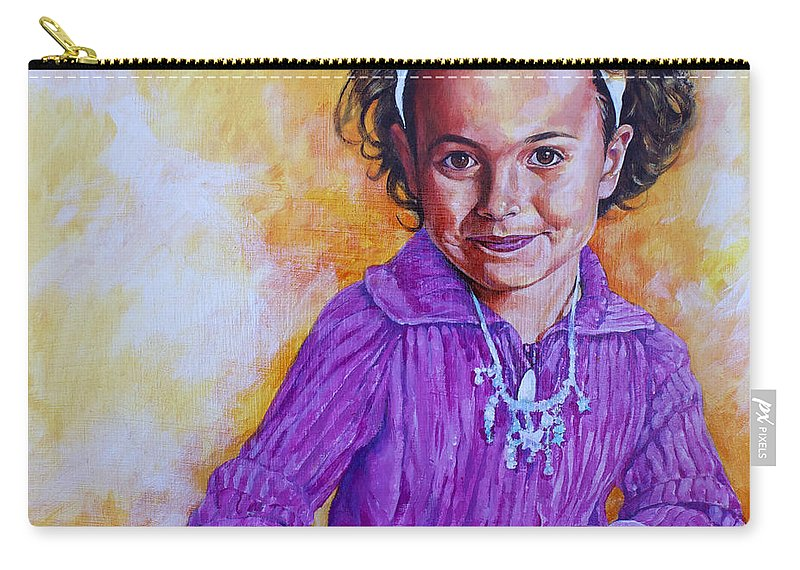Girl Carry-all Pouch featuring the painting The Green Cat by Derrick Higgins