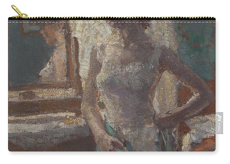 Camden Town Group Carry-all Pouch featuring the painting The Green Dress, 1908-09 by Spencer Frederick Gore
