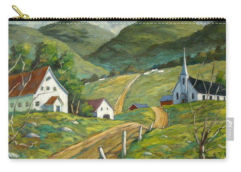Hills Carry-all Pouch featuring the painting The Green Hills by Richard T Pranke
