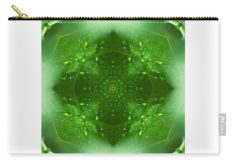 Green Carry-all Pouch featuring the photograph The Green Jewel Of Nature Mandala by Marie Jamieson