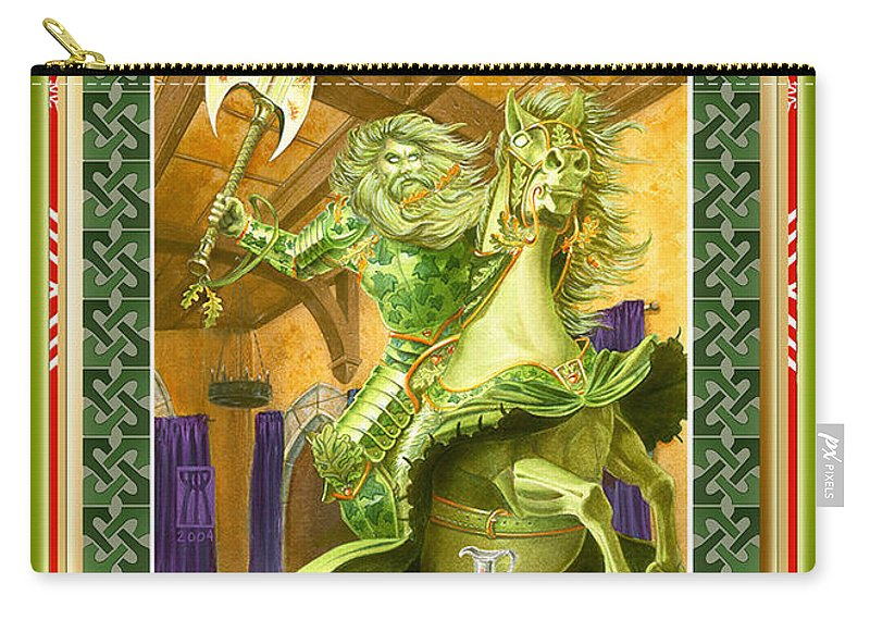 Christmas Carry-all Pouch featuring the painting The Green Knight Christmas Card by Melissa A Benson