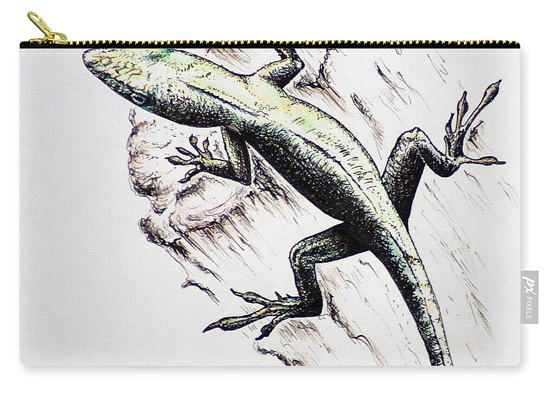 Ink Sketch Carry-all Pouch featuring the drawing The Green Lizard by Katharina Filus