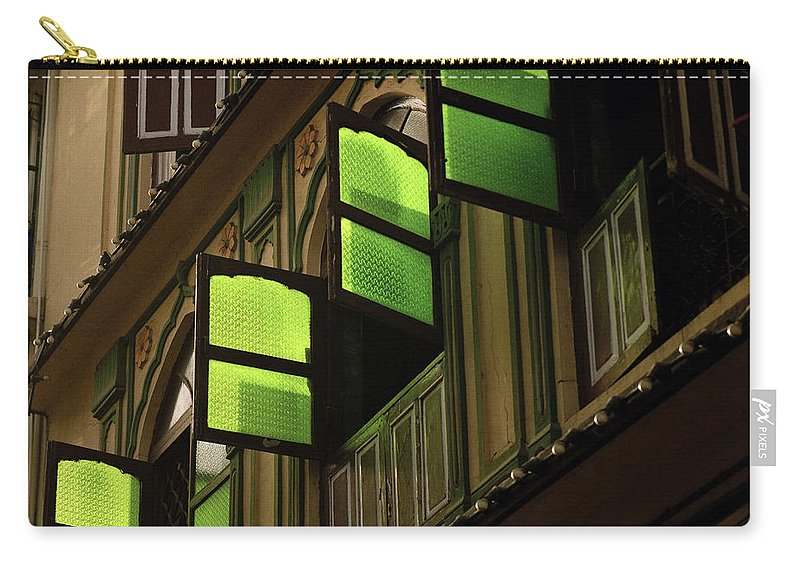 Serene Carry-all Pouch featuring the photograph The Green Windows by Shaun Higson