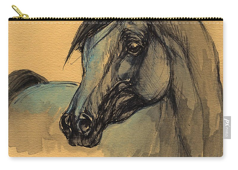 Horse Carry-all Pouch featuring the painting The Grey Arabian Horse 1 by Angel Ciesniarska