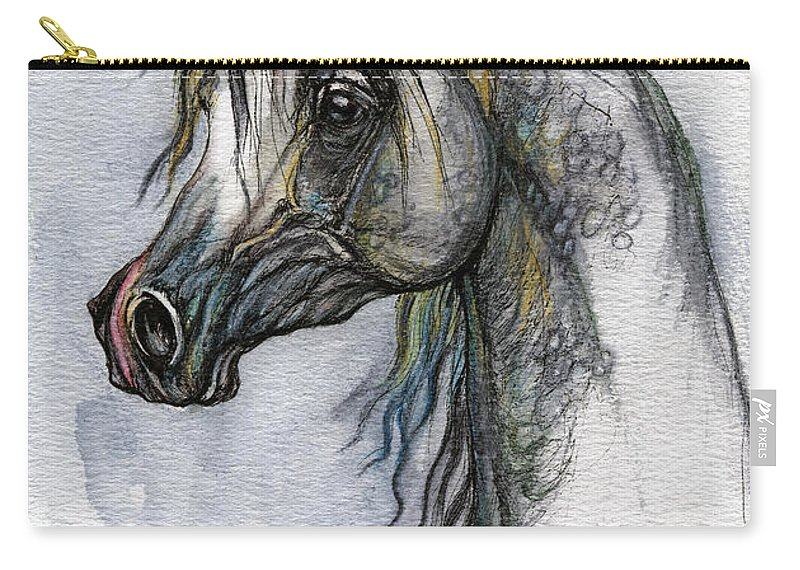 Watercolor Carry-all Pouch featuring the painting The Grey Arabian Horse 10 by Angel Ciesniarska