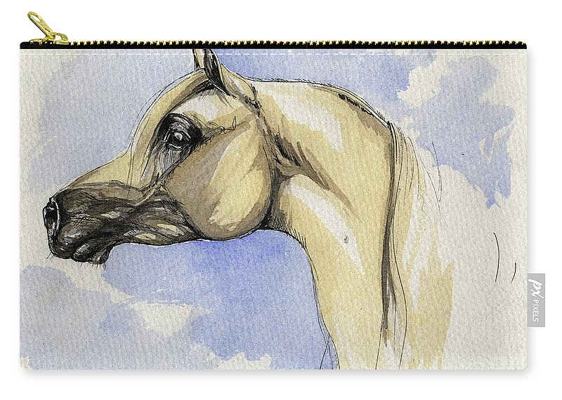 Arabian Carry-all Pouch featuring the painting The Grey Arabian Horse 12 by Angel Tarantella