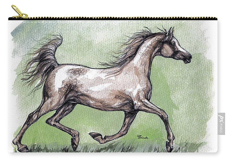 Horse Carry-all Pouch featuring the painting The Grey Arabian Horse 8 by Angel Ciesniarska