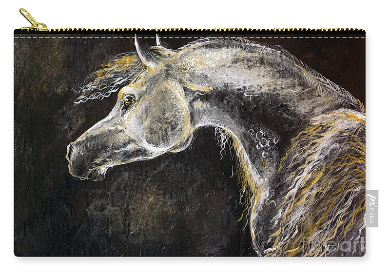 Horse Carry-all Pouch featuring the painting The Grey Arabian Horse 9 by Angel Ciesniarska