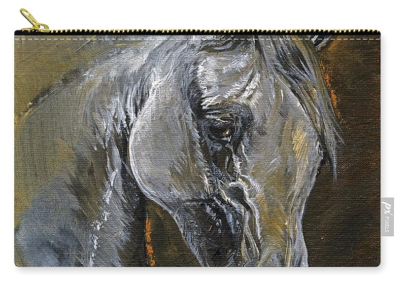 Grey Horse Carry-all Pouch featuring the painting The Grey Arabian Horse Oil Painting by Angel Tarantella