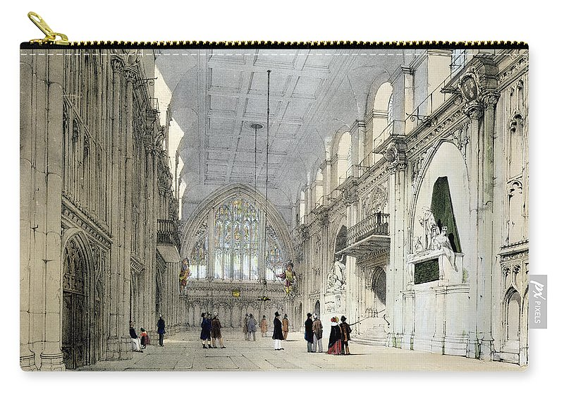 Gothic Architecture Carry-all Pouch featuring the drawing The Guildhall, Interior, From London As by Thomas Shotter Boys
