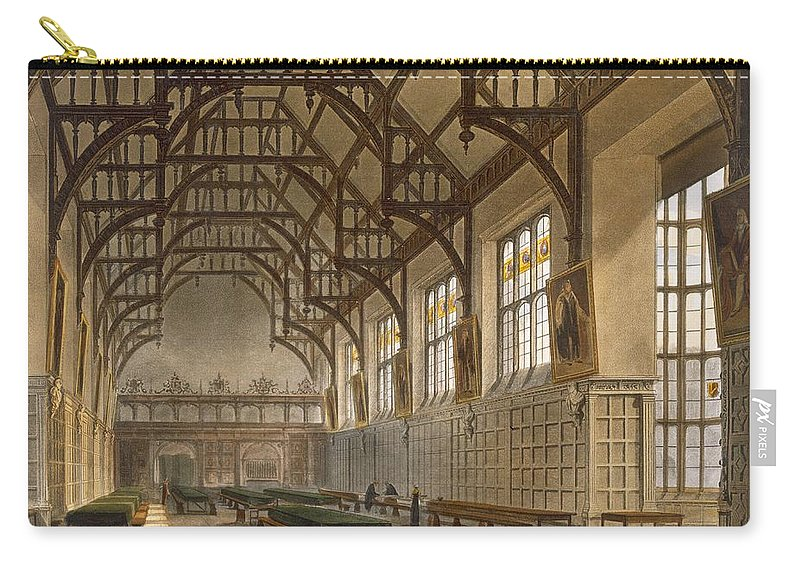 Panelling Carry-all Pouch featuring the drawing The Hall Of Trinity College, Cambridge by Augustus Charles Pugin