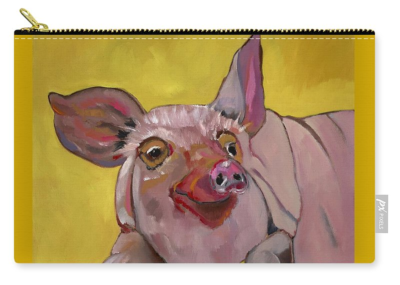 Pig Carry-all Pouch featuring the painting The Happiest Pig In The World by Randine Dodson