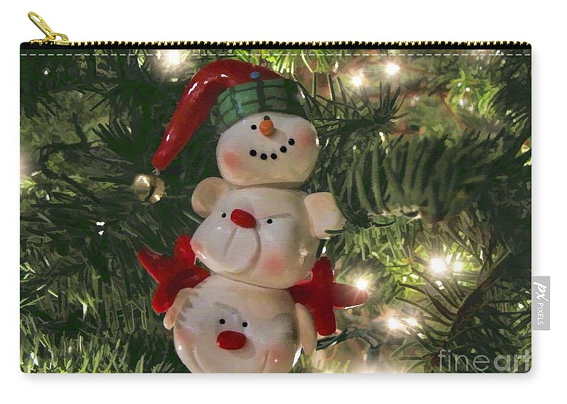 Festive Carry-all Pouch featuring the photograph The Happy Snowman by Peggy Hughes