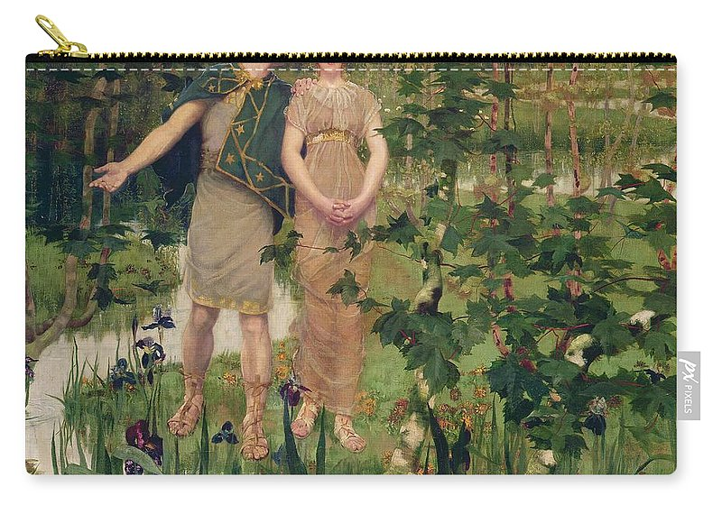 Male Carry-all Pouch featuring the painting The Happy Valley, 1898 by William Stott