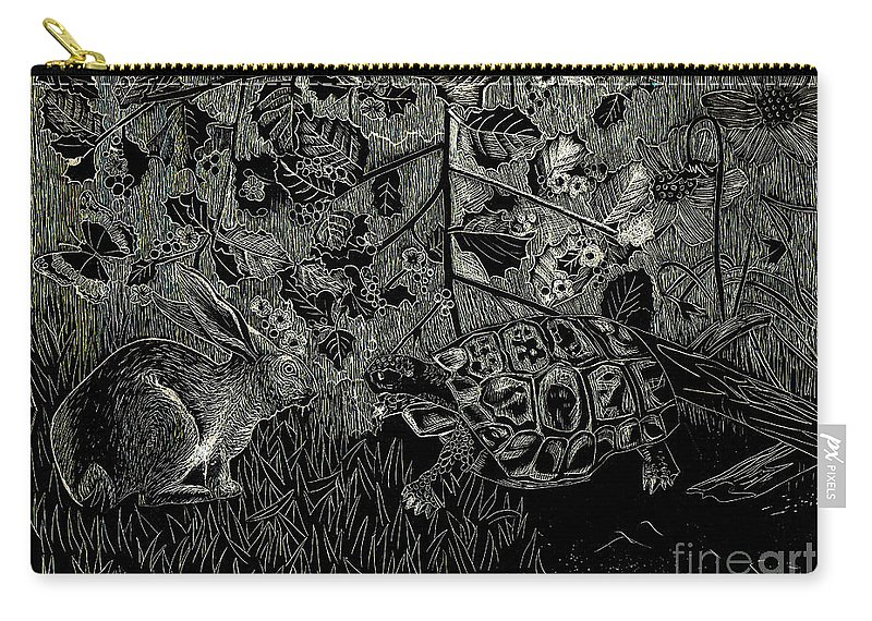 Hare Carry-all Pouch featuring the painting The Hare And The Tortoise by Genevieve Esson