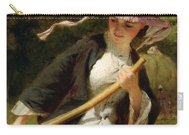George Elgar Hicks Carry-all Pouch featuring the digital art The Haymaker by George Elgar Hicks