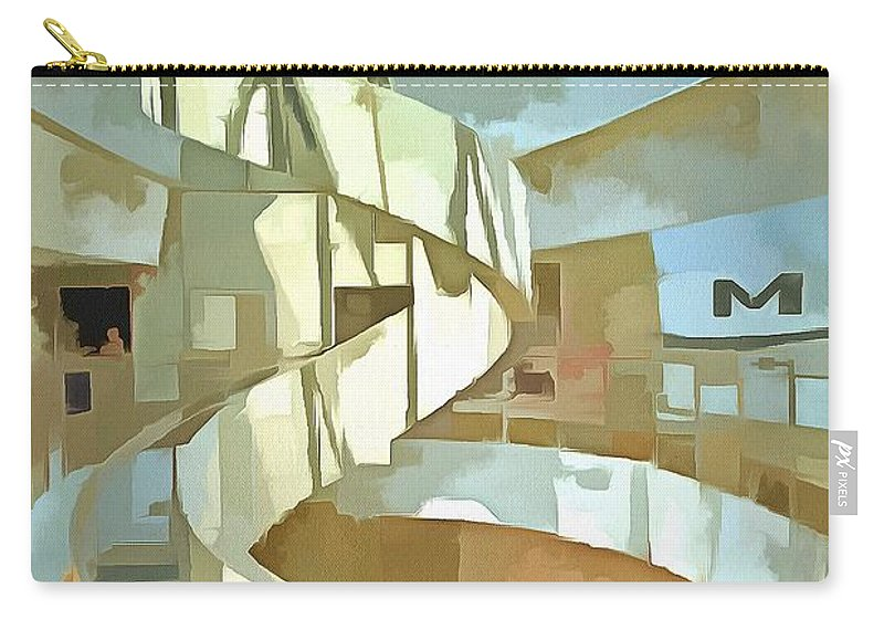 The Helical Staircase Carry-all Pouch featuring the painting The Helical Staircase by L Wright