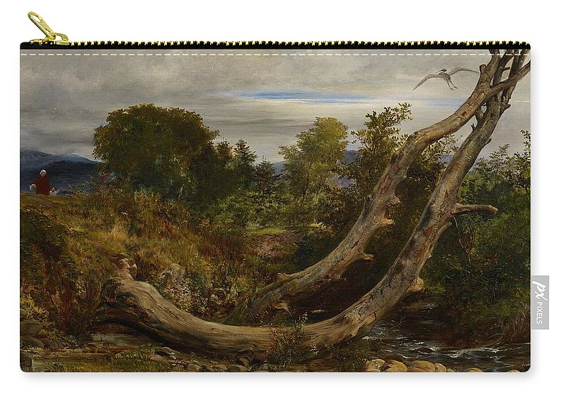 Heron; Herons; Bird; Birds; Disturbed; Flight; Flying; Landscape; Nature; Wildlife; Interruption; Stream; Creek; Brook; Countryside Carry-all Pouch featuring the painting The Heron Disturbed by Richard Redgrave