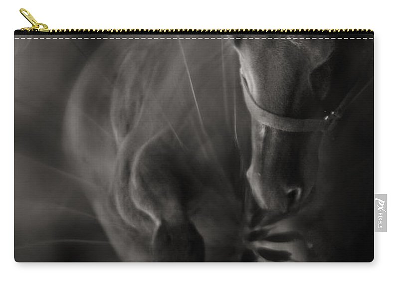 Abstract Carry-all Pouch featuring the photograph The Horse And Dandelion by Angel Ciesniarska