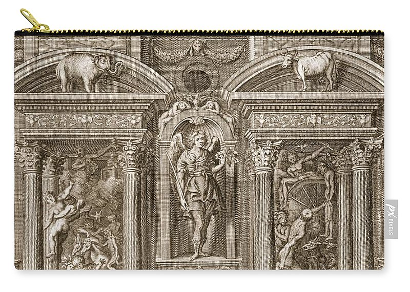 Architecture Carry-all Pouch featuring the drawing The House Of Sleep, 1731 by Bernard Picart