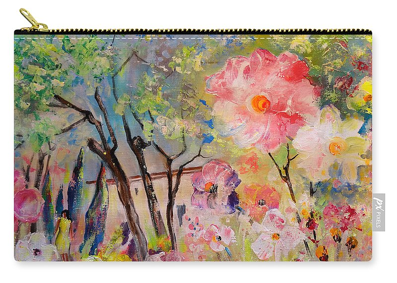 Trees Carry-all Pouch featuring the painting The House Of The Rising Flowers by Miki De Goodaboom