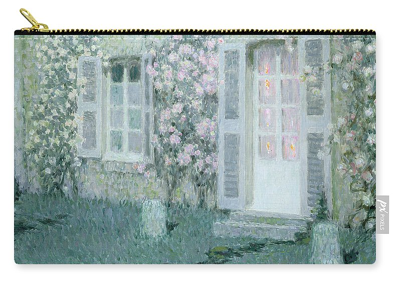 Post Impressionist Carry-all Pouch featuring the painting The House With Roses by Henri Eugene Augustin Le Sidaner