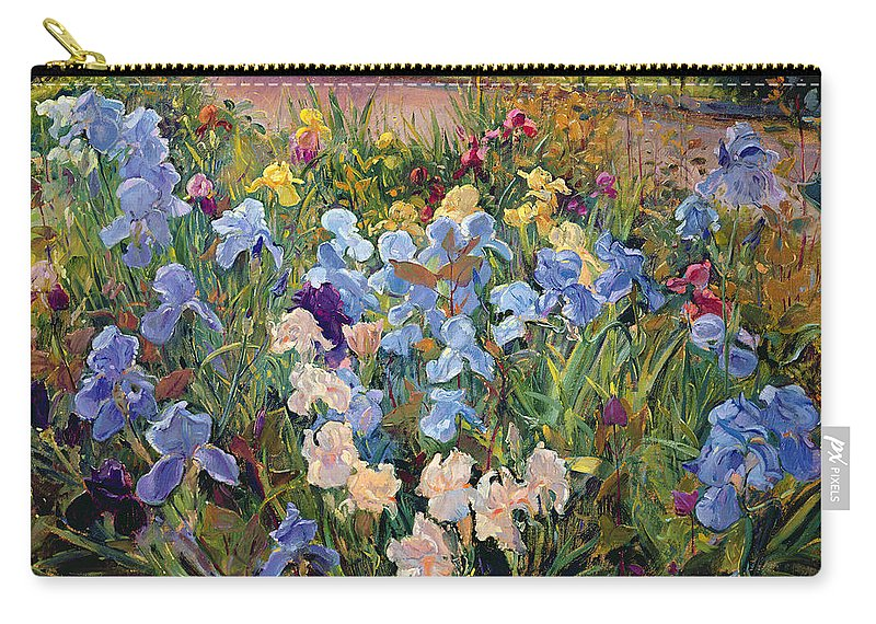 Garden Carry-all Pouch featuring the painting The Iris Bed by Timothy Easton