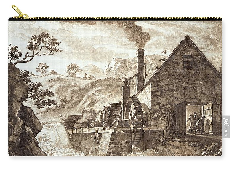 Water Wheel Carry-all Pouch featuring the drawing The Iron Forge Between Dolgelli by Paul Sandby