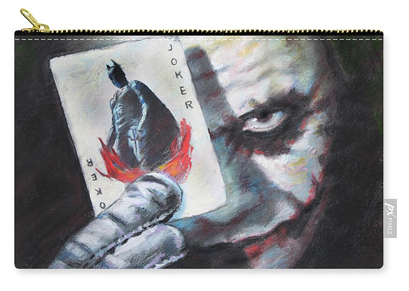 The Joker Heath Ledger Carry-all Pouch featuring the drawing The Joker Heath Ledger by Viola El