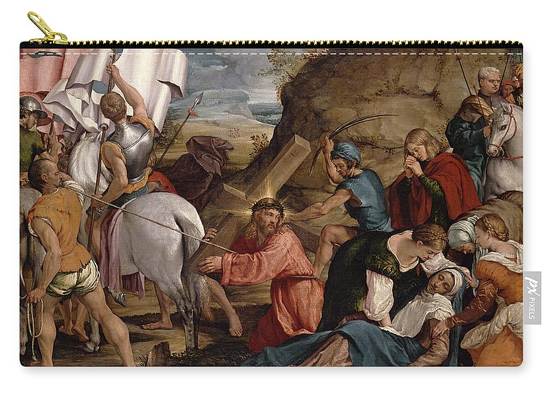 Jesus Carry-all Pouch featuring the painting The Journey To Calvary, C.1540 by Jacopo Bassano