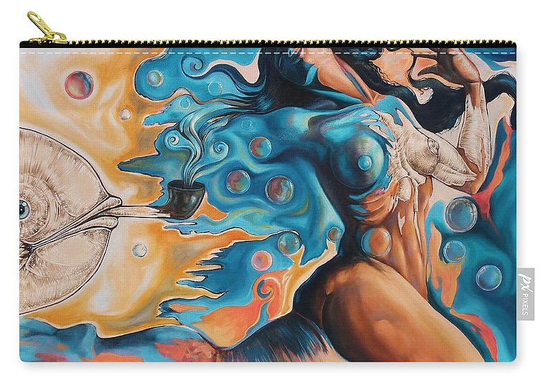 Surrealism Carry-all Pouch featuring the painting On the Edge of Dreams by Darwin Leon