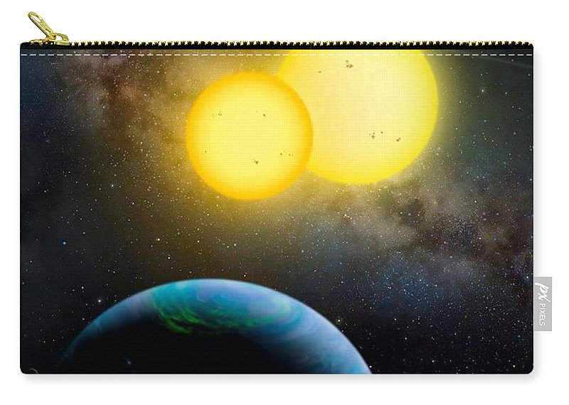 Moon Carry-all Pouch featuring the photograph The Kepler 35 System by Movie Poster Prints